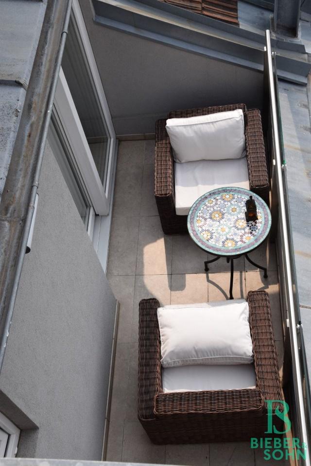 Blick auf Terrasse vom Appartement