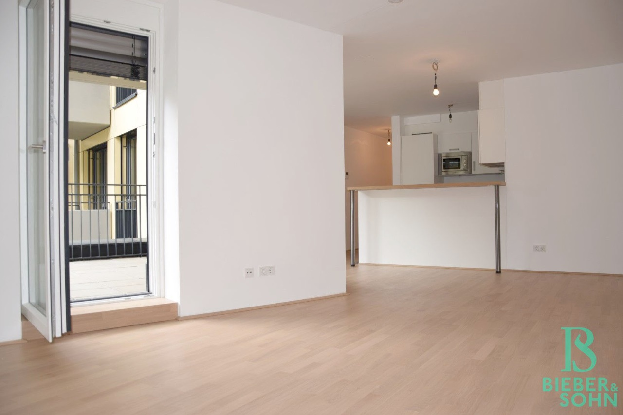 Wohnraum/Blick Küche/Terrasse